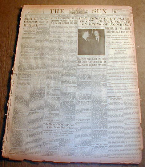 1934 newspaperjohn dillinger gang member harry pierpont to die in electric chair ebay. Black Bedroom Furniture Sets. Home Design Ideas
