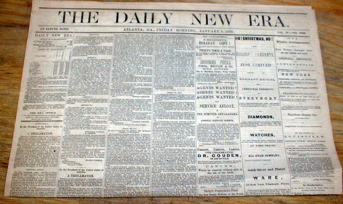 1869 atlanta georgia newspaper post civil war durng