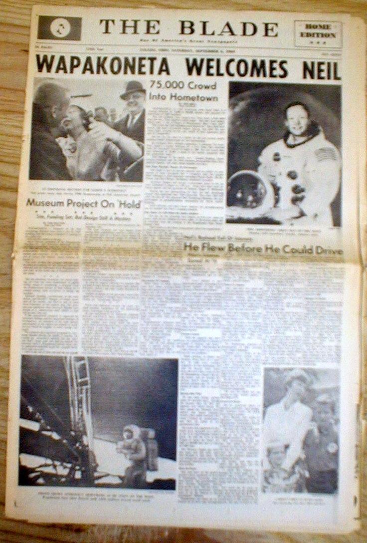 1969 Toledo Oh Newspaper Wapakoneta Honors Neil Armstrong ...
